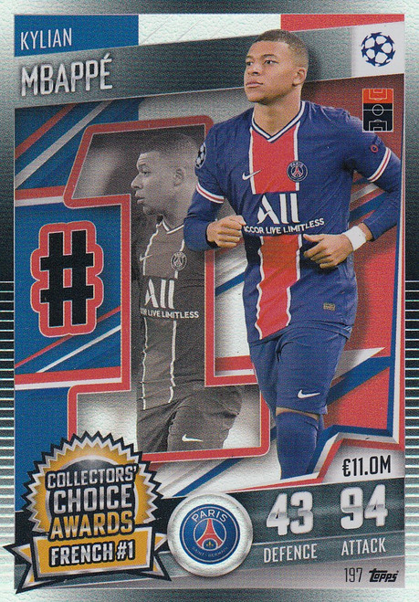 #197 Kylian Mbappé (Paris Saint-Germain) Match Attax 101 2020/21 COLLECTORS' CHOICE AWARDS