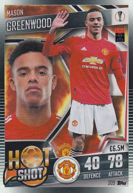 #209 Mason Greenwood (Manchester United) Match Attax 101 2020/21 HOT SHOT
