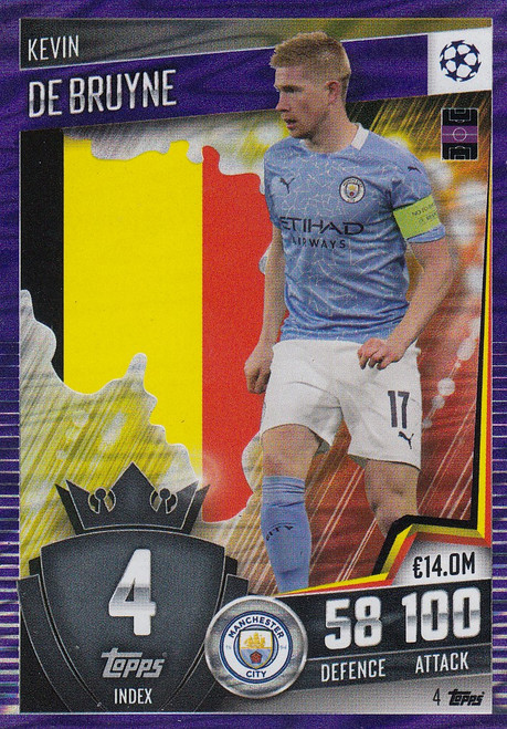 #4 Kevin De Bruyne (Manchester City) Match Attax 101 2020/21 PURPLE PARALLEL