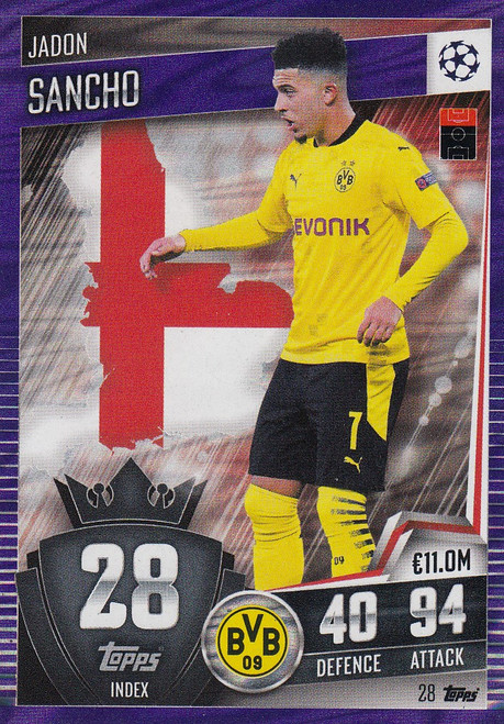 #28 Jadon Sancho (Borussia Dortmund) Match Attax 101 2020/21 PURPLE PARALLEL