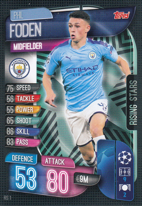 #RS1 Phil Foden (Manchester City) Match Attax EXTRA 2019/20 RISING STAR