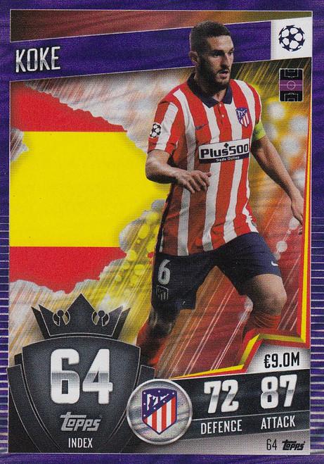 #64 Koke (Club Atlético de Madrid) Match Attax 101 2020/21 PURPLE PARALLEL