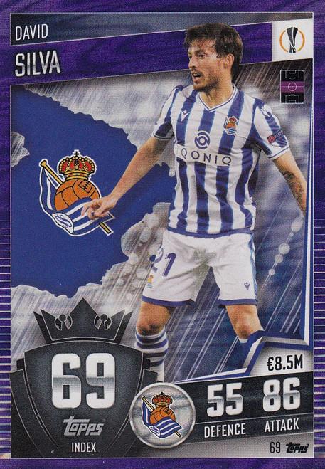 #69 David Silva (Real Sociedad) Match Attax 101 2020/21 PURPLE PARALLEL