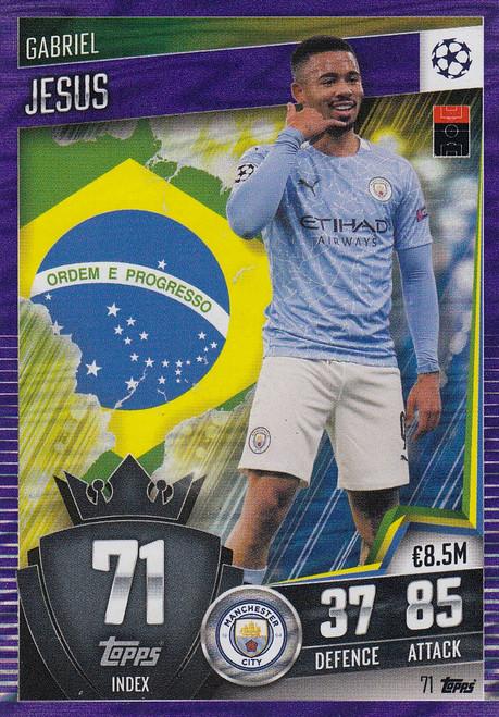 #71 Gabriel Jesus (Manchester City) Match Attax 101 2020/21 PURPLE PARALLEL