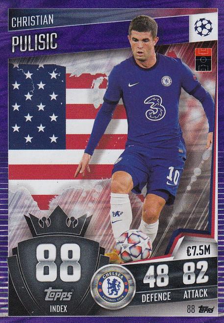 #88 Christian Pulisic (Chelsea) Match Attax 101 2020/21 PURPLE PARALLEL