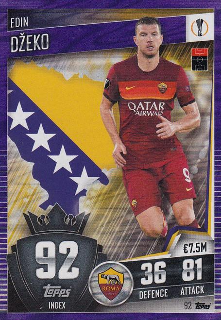#92 Edin Džeko (AS Roma) Match Attax 101 2020/21 PURPLE PARALLEL