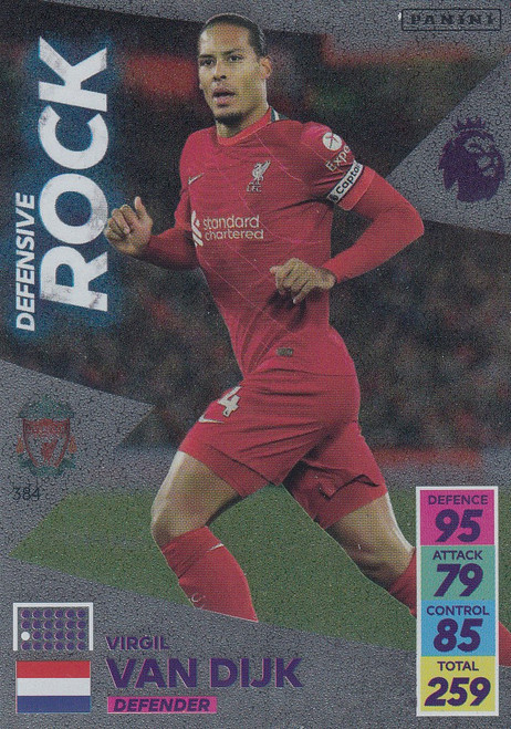 #384 Virgil van Dijk (Liverpool) Adrenalyn XL Premier League 2021/22 DEFENSIVE ROCK