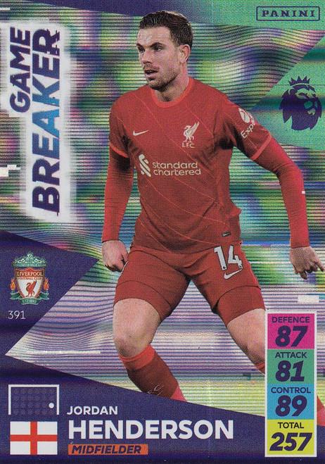 #391 Jordan Henderson (Liverpool) Adrenalyn XL Premier League 2021/22 GAME BREAKER