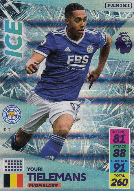 #420 Youri Tielemans (Leicester City) Adrenalyn XL Premier League 2021/22 ICE