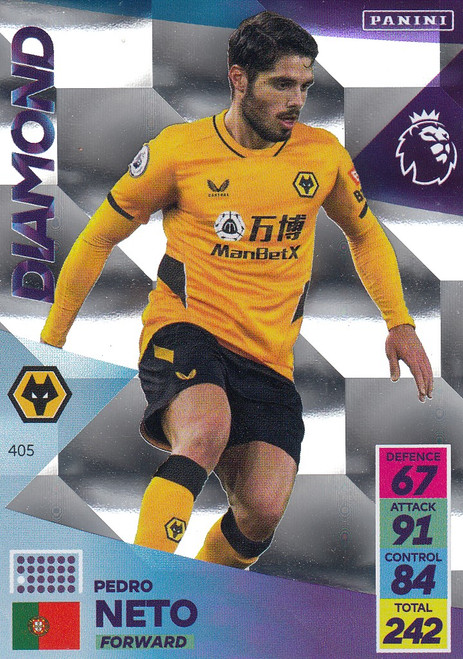 #405 Pedro Neto (Wolverhampton Wanderers) Adrenalyn XL Premier League 2021/22 DIAMOND