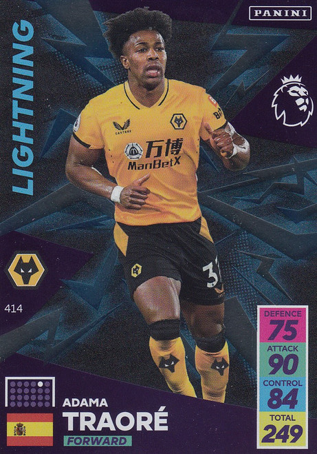 #414 Adama Traoré (Wolverhampton Wanderers) Adrenalyn XL Premier League 2021/22 LIGHTNING