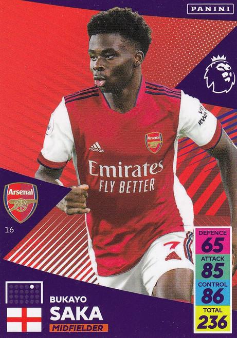 #16 Bukayo Saka (Arsenal) Adrenalyn XL Premier League 2021/22