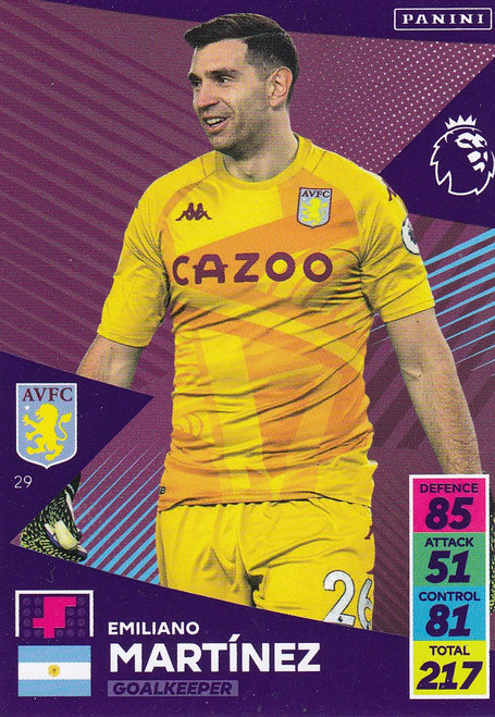 #29 Emiliano Martínez (Aston Villa) Adrenalyn XL Premier League 2021/22