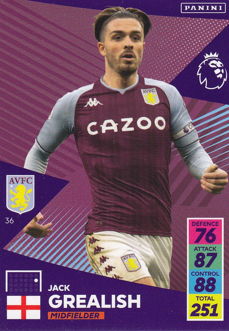 #36 Jack Grealish (Aston Villa) Adrenalyn XL Premier League 2021/22