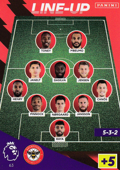 #63 Line-Up (Brentford) Adrenalyn XL Premier League 2021/22