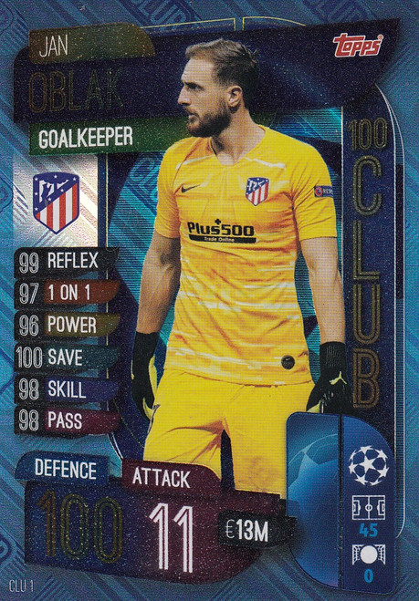 #CLU1 Jan Oblak (Club Atletico De Madrid) Match Attax EXTRA 2019/20 100 CLUB