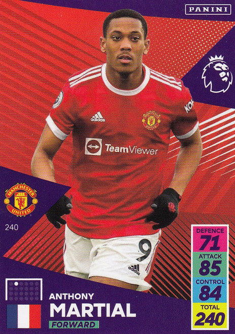 #240 Anthony Martial (Manchester United) Adrenalyn XL Premier League 2021/22