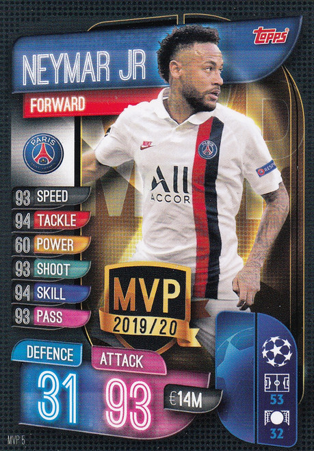 #MVP5 Neymar Jr (Paris Saint-Germain) Match Attax EXTRA 2019/20 MVP