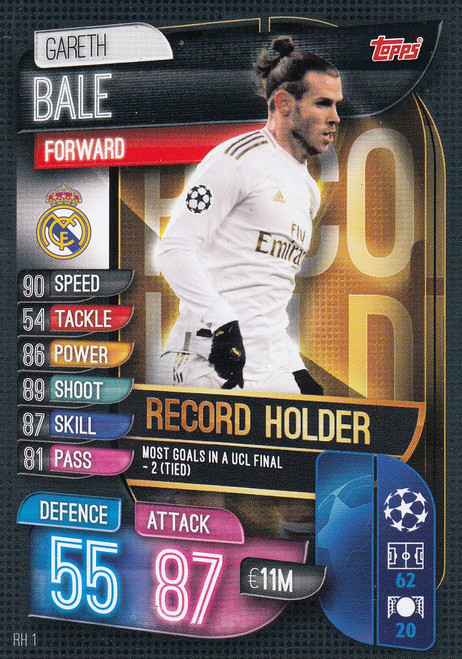 #RH1 Gareth Bale (Real Madrid CF) Match Attax EXTRA 2019/20 ALL-TIME RECORD HOLDER