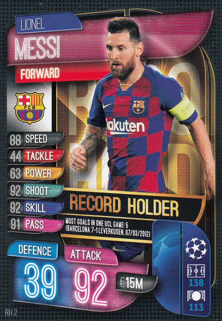 #RH2 Lionel Messi (FC Barcelona) Match Attax EXTRA 2019/20 ALL-TIME RECORD HOLDER
