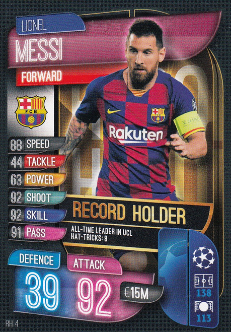 #RH4 Lionel Messi (FC Barcelona) Match Attax EXTRA 2019/20 ALL-TIME RECORD HOLDER