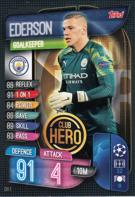 #CH1 Ederson (Manchester City) Match Attax EXTRA 2019/20 CLUB HERO
