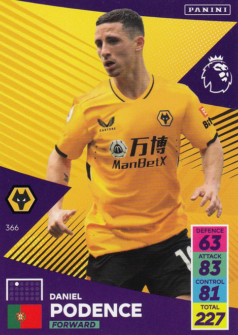#366 Daniel Podence (Wolverhampton Wanderers) Adrenalyn XL Premier League 2021/22