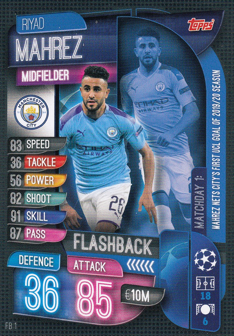 #FB1 Riyad Mahrez (Manchester City) Match Attax EXTRA 2019/20 FLASHBACK