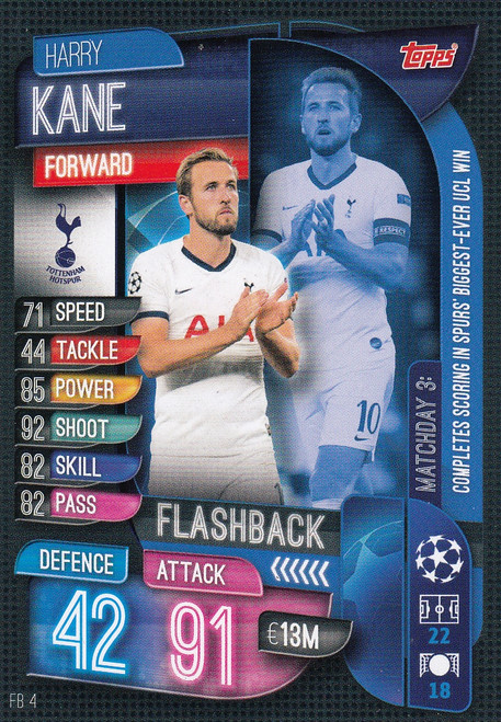 #FB4 Harry Kane (Tottenham Hotspur) Match Attax EXTRA 2019/20 FLASHBACK