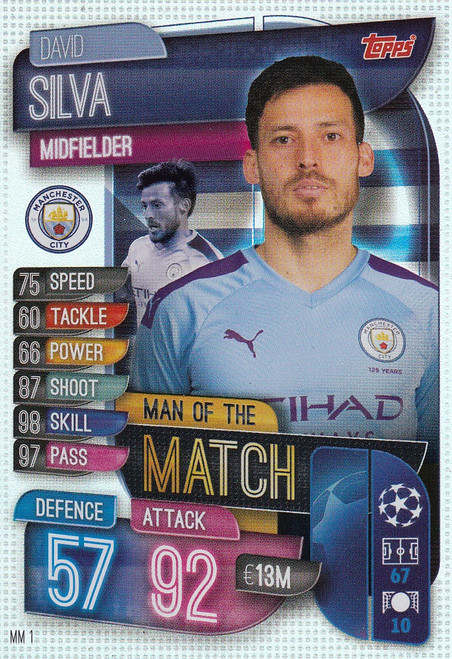 #MM1 David Silva (Manchester City) Match Attax EXTRA 2019/20 MAN OF THE MATCH
