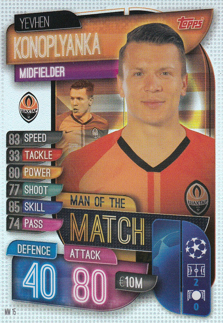 #MM15 Yevhen Konoplyanka (FC Shakhtar) Match Attax EXTRA 2019/20 MAN OF THE MATCH