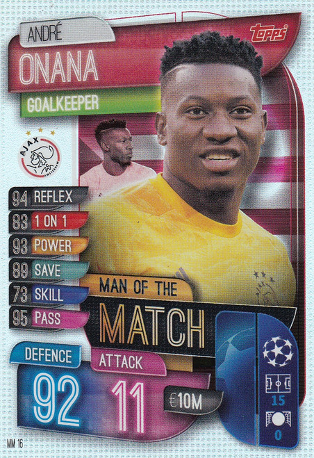 #MM16 Andre onana (AFC Ajax) Match Attax EXTRA 2019/20 MAN OF THE MATCH
