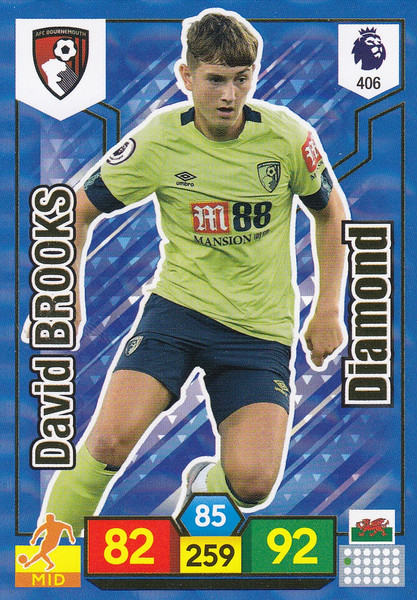 #406 David Brooks (AFC Bournemouth) Adrenalyn XL Premier League 2019/20 DIAMOND