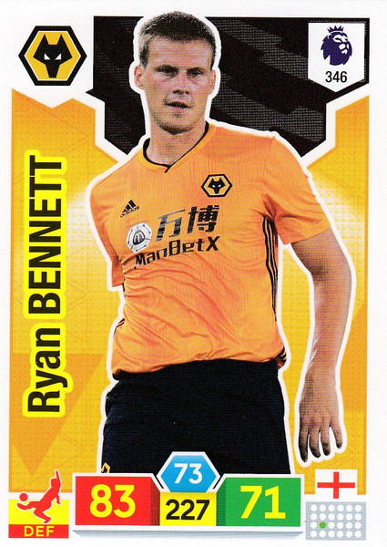 #346 Ryan Bennett (Wolverhampton Wanderers) Adrenalyn XL Premier League 2019/20