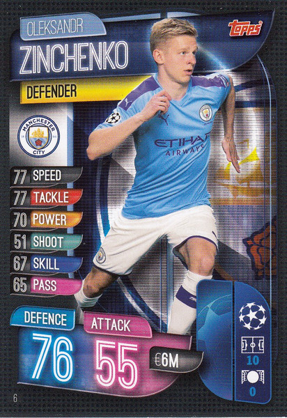 #6 Oleksandr Zinchenko (Manchester City) Match Attax Champions League 2019/20