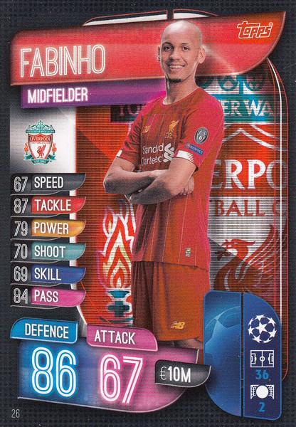 #26 Fabinho (Liverpool) Match Attax Champions League 2019/20