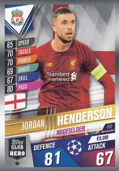 #CH2 Jordan Henderson (Liverpool FC) Match Attax 101 2019/20 CLUB HEROES