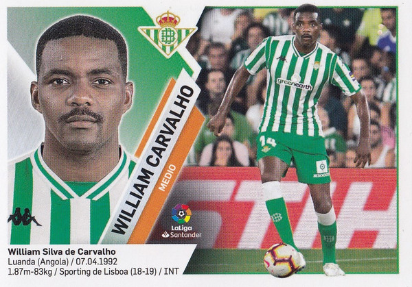 #9 William Carvalho (Real Betis) Coleccion Liga Este 2019-20