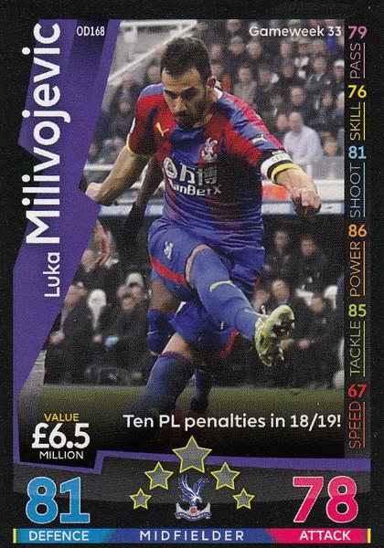 #OD168 Luka Milivojevic (Crystal Palace) Match Attax Premier League 2018-19 ON DEMAND