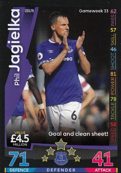 #OD170 Phil Jagielka (Everton) Match Attax Premier League 2018-19 ON DEMAND