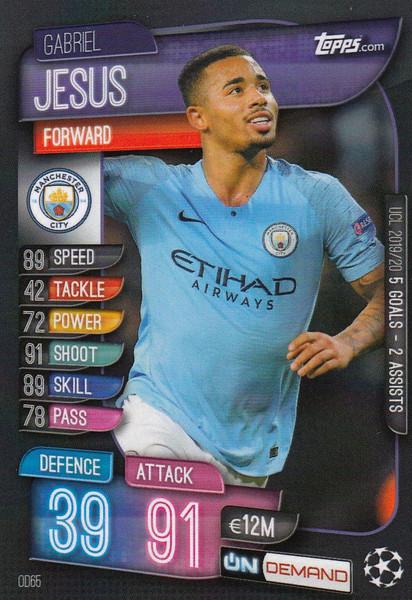 #OD65 Gabriel Jesus (Manchester City) Match Attax Champions League 2019-20 ON DEMAND