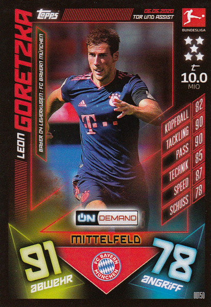 #OD150 Leon Goretzka (FC Bayern Munchen) Match Attax Bundesliga 2019-20 ON DEMAND
