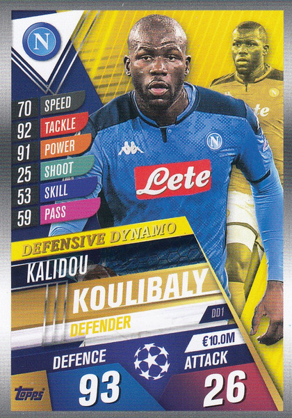 #DD1 Kalidou Koulibaly (SSC Napoli) Match Attax 101 2019/20 DEFENSIVE DYNAMO