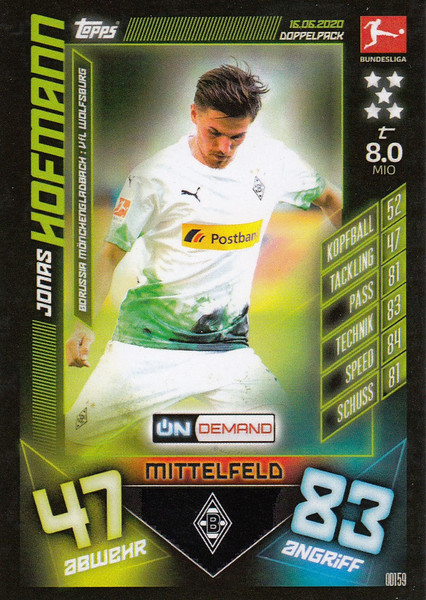 #OD159 Jonas Hofmann (Borussia Monchengladbach) Match Attax Bundesliga 2019-20 ON DEMAND