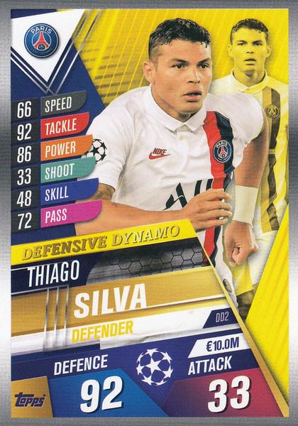 #DD2 Thiago Silva (Paris Saint-Germain) Match Attax 101 2019/20 DEFENSIVE DYNAMO