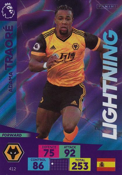 #412 Adama Traore (Wolverhampton Wanderers) Adrenalyn XL Premier League 2020/21 LIGHTNING
