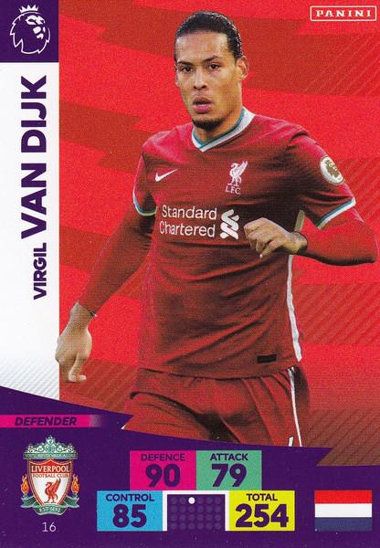 #16 Virgil Van Dijk (Liverpool) Adrenalyn XL Premier League 2020/21
