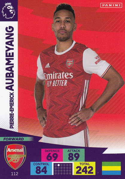 #112 Pierre-Emerick Aubameyang (Arsenal) Adrenalyn XL Premier League 2020/21