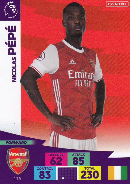 #115 Nicolas Pepe (Arsenal) Adrenalyn XL Premier League 2020/21