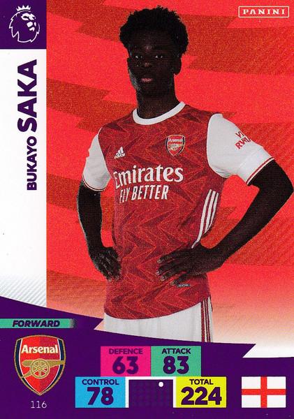#116 Bukayo Saka (Arsenal) Adrenalyn XL Premier League 2020/21